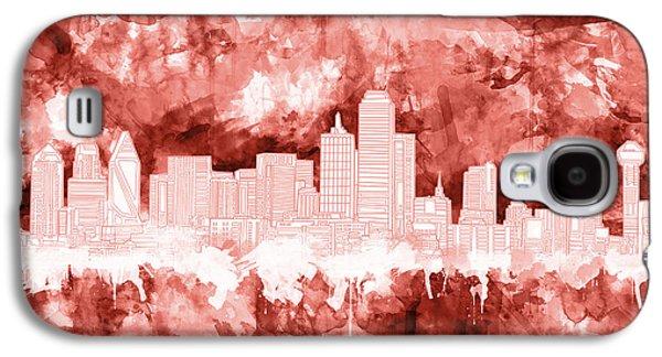 Dallas Skyline Brush Strokes Red Galaxy S4 Case