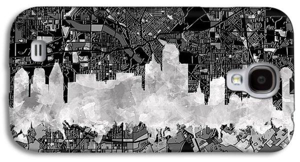 Dallas Skyline Map Black And White 2 Galaxy S4 Case
