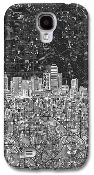 Dallas Skyline Map Black And White 3 Galaxy S4 Case