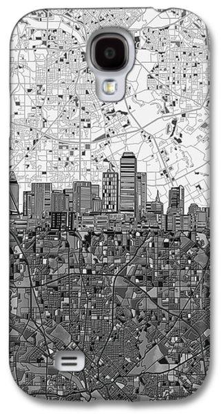 Dallas Skyline Map Black And White 4 Galaxy S4 Case