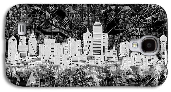 Dallas Skyline Map Black And White 5 Galaxy S4 Case by Bekim Art
