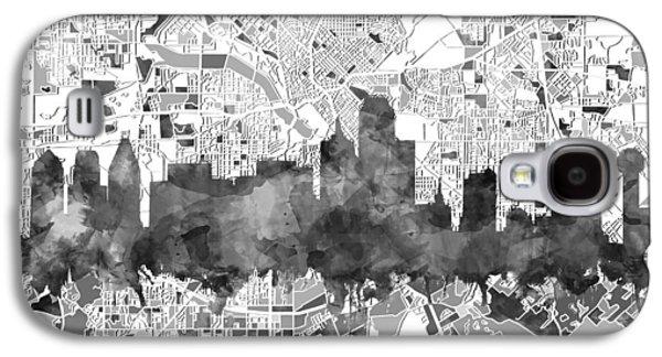 Dallas Skyline Map Black And White Galaxy S4 Case