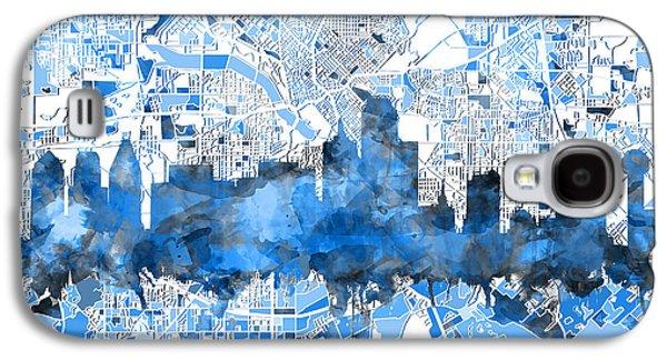 Dallas Skyline Map Blue 2 Galaxy S4 Case