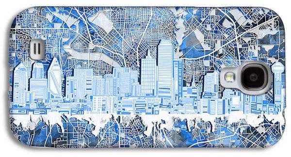 Dallas Skyline Map Blue 5 Galaxy S4 Case