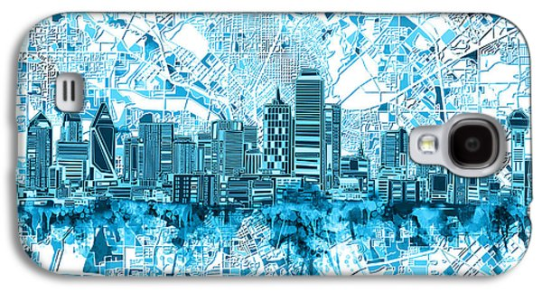 Dallas Skyline Map Blue 6 Galaxy S4 Case