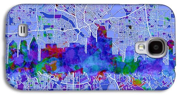 Dallas Skyline Map Blue Galaxy S4 Case