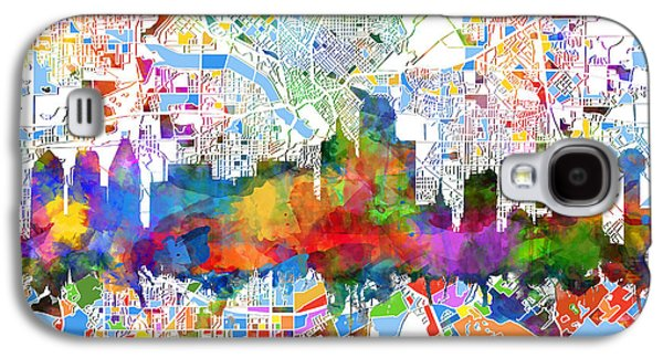 Dallas Skyline Map Color 3 Galaxy S4 Case