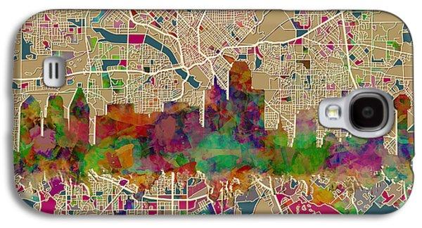 Dallas Skyline Map Color Galaxy S4 Case