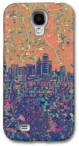 Dallas Skyline Map Orange Galaxy S4 Case
