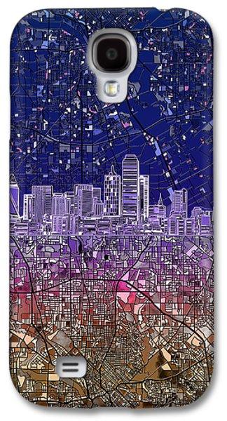 Dallas Skyline Map Purple 2 Galaxy S4 Case