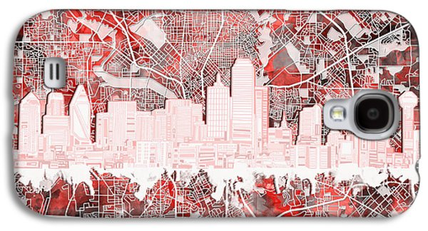 Dallas Skyline Map Red 2 Galaxy S4 Case