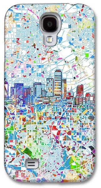 Dallas Skyline Map White 2 Galaxy S4 Case