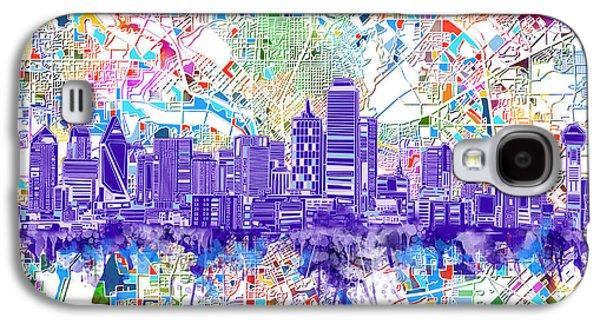Dallas Skyline Map White 3 Galaxy S4 Case by Bekim Art