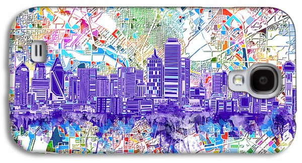Dallas Skyline Map White 3 Galaxy S4 Case
