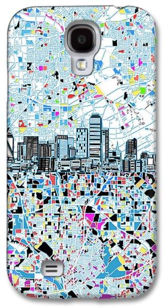 Dallas Skyline Map White Galaxy S4 Case