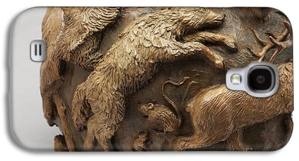 Dance Of The Seasons - Bronze Wildlife Bowl Detail - Wolf And Jumping Mice Galaxy S4 Case by Dawn Senior-Trask