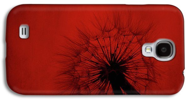 Dandelion Silhouette On Red Textured Background Galaxy S4 Case