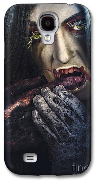 Dark Halloween Horror Portrait. Creepy Vampire Galaxy S4 Case