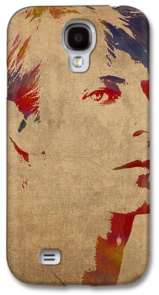 David Bowie Rock Star Musician Watercolor Portrait On Worn Distressed Canvas Galaxy S4 Case