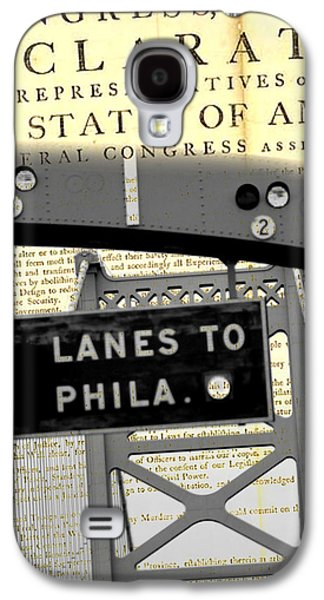 Declaration Of Independence Ben Franklin Bridge Galaxy S4 Case by Brandi Fitzgerald