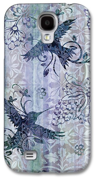 Quilt Galaxy S4 Cases - Deco Hummingbird Blue Galaxy S4 Case by JQ Licensing