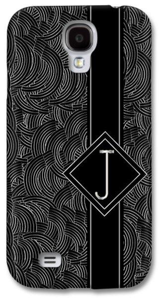 Deco Jazz Swing Monogram ...letter J Galaxy S4 Case by Cecely Bloom