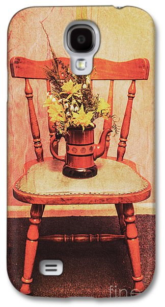 Decorated Flower Bunch On Old Wooden Chair Galaxy S4 Case by Jorgo Photography - Wall Art Gallery