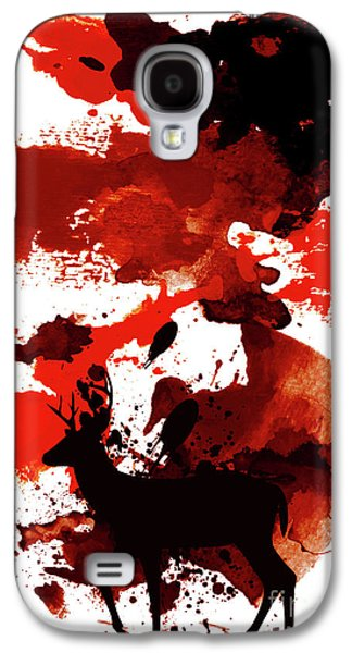 Deer Art Night Galaxy S4 Case by Prar Kulasekara