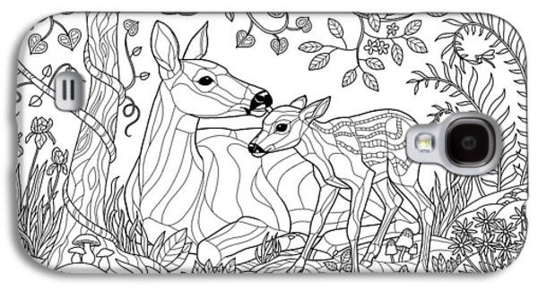 Deer Fantasy Forest Coloring Page Galaxy S4 Case by Crista Forest