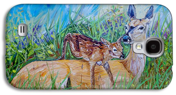 Deer Mom And Babe 24x18x1 Oil On Gallery Canvas Galaxy S4 Case