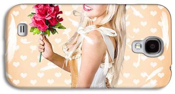 Delicate Young Woman Holding Flower Bunch Galaxy S4 Case