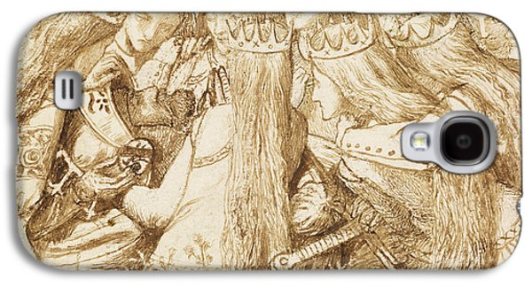 Design For Moxon's Tennyson - King Arthur And The Weeping Queens Galaxy S4 Case by Dante Gabriel Rossetti
