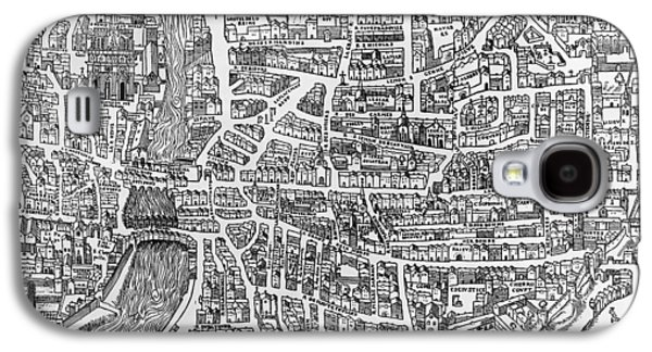 Detail From A Map Of Paris In The Reign Of Henri II Showing The Quartier Des Ecoles Galaxy S4 Case by French School
