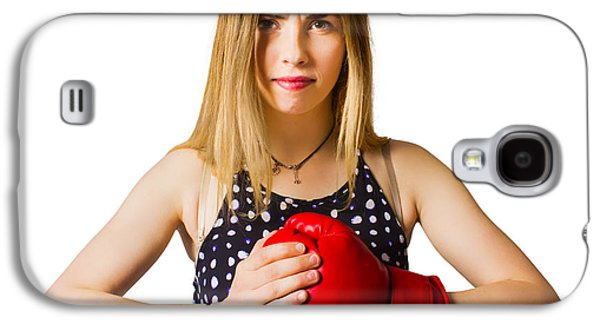 Determined Fitness Girl On White Background Galaxy S4 Case