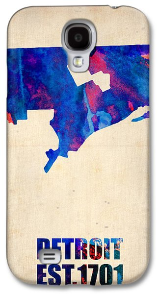 Detroit Watercolor Map Galaxy S4 Case by Naxart Studio