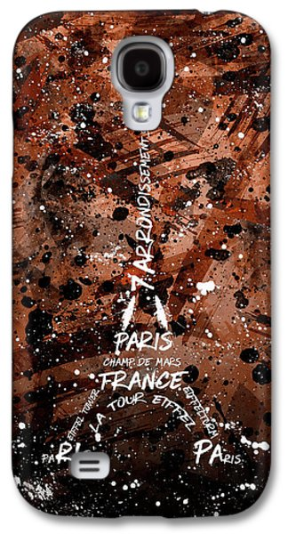 Digital Art Eiffel Tower - Brown Galaxy S4 Case by Melanie Viola