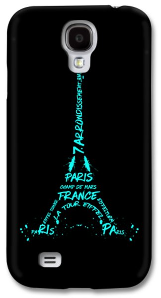Digital-art Eiffel Tower Cyan Galaxy S4 Case by Melanie Viola