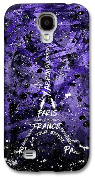 Digital Art Eiffel Tower - Purple Galaxy S4 Case by Melanie Viola