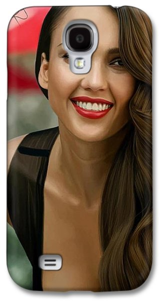 Digital Painting Of Jessica Alba Galaxy S4 Case by Frohlich Regian