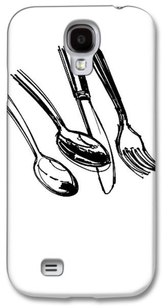 Diner Drawing Spoons, Knife, And Fork Galaxy S4 Case by Chad Glass