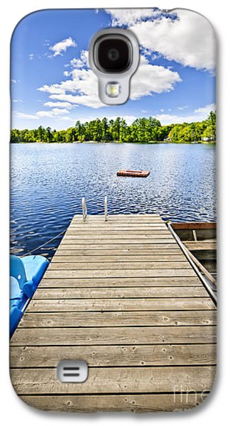 Rowboat Galaxy S4 Cases - Dock on lake in summer cottage country Galaxy S4 Case by Elena Elisseeva