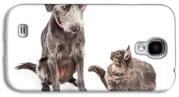 Dog And Cat Laying Together Looking Forward Galaxy S4 Case by Susan Schmitz
