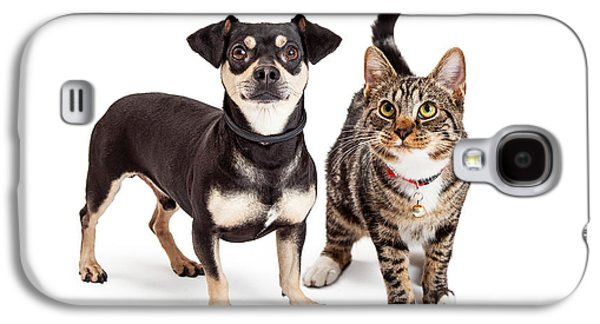 Dog And Cat Standing Looking Up Together Galaxy S4 Case by Susan Schmitz