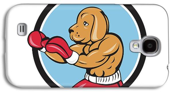Dog Boxer Fighting Stance Circle Cartoon Galaxy S4 Case