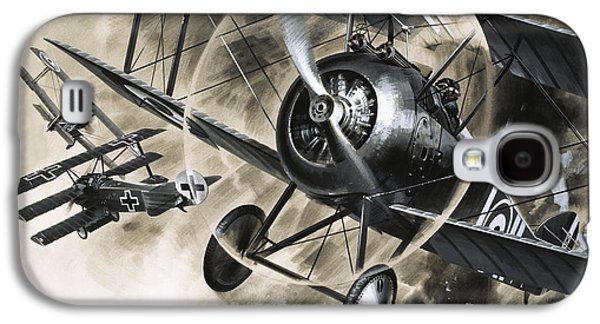 Dog Fight Between British Biplanes And A German Triplane Galaxy S4 Case by Wilf Hardy