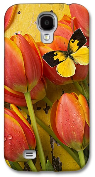 Dogface Butterfly And Tulips Galaxy S4 Case by Garry Gay