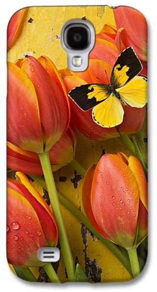 Dogface Butterfly And Tulips Galaxy S4 Case