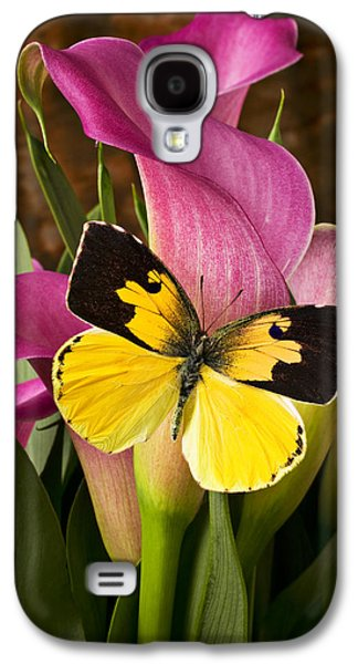 Dogface Butterfly On Pink Calla Lily  Galaxy S4 Case by Garry Gay