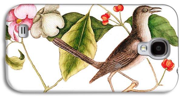 Dogwood  Cornus Florida, And Mocking Bird  Galaxy S4 Case by Mark Catesby