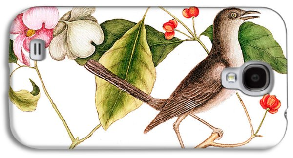 Dogwood  Cornus Florida, And Mocking Bird  Galaxy S4 Case by Mark Catesby